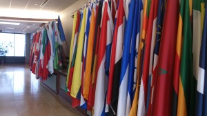 When you exit the elevator on the 18th floor, you see all the flags of countries and territories where Rotary International has a club.