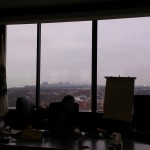 This was the view out of the window from the meeting room. In the mist, there is the skyline of Chicago.