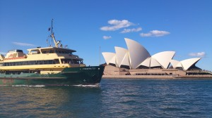 One of the public ferry going in front of the Sydney Opera House